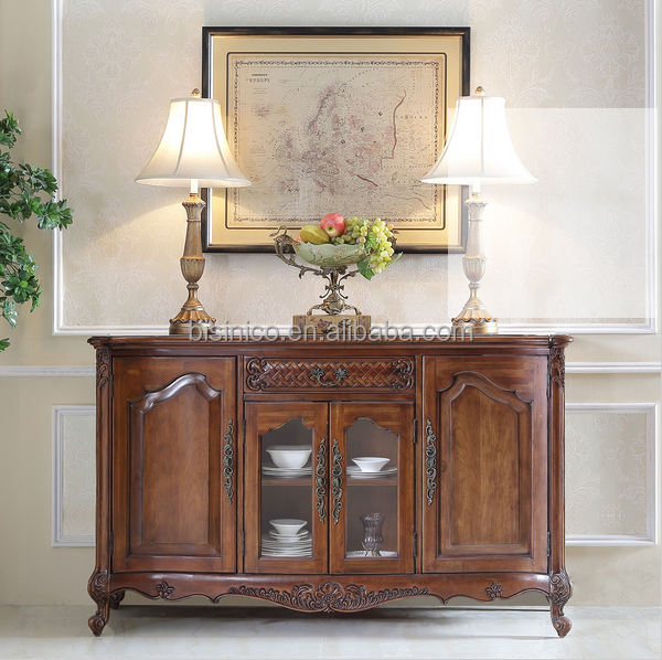 Antique Hand Carved Console Cabinet,Sideboard, Buffet, Bouquet Motif Dinning Room Furniture