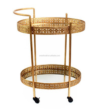 metal trolley cart with wheels 2 tiers glass sliding gold Tea Trolley