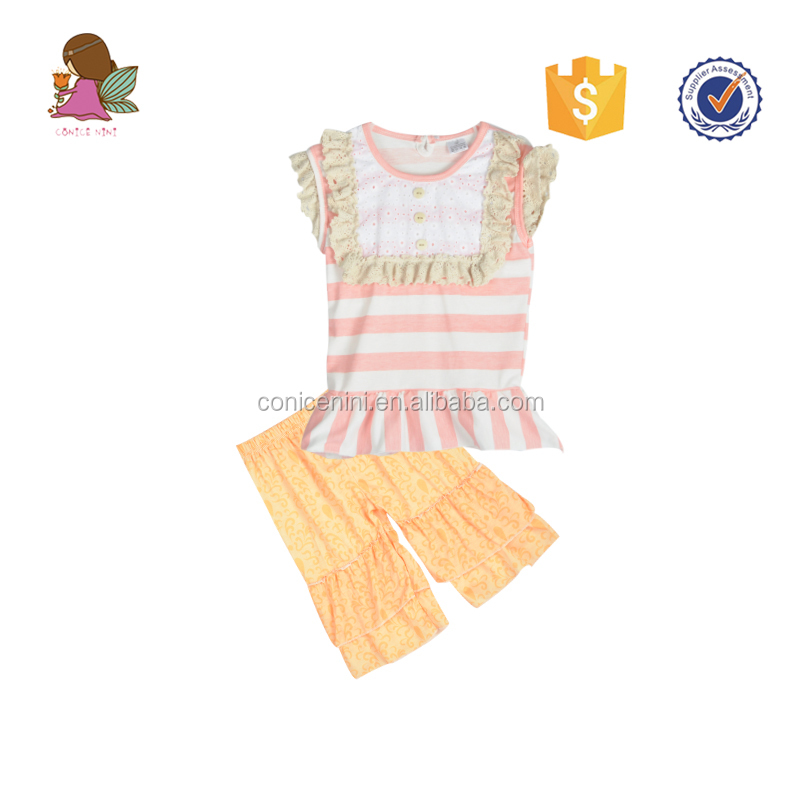 CONICE NINI Stripes Lace Bib Icing Ruffle Sleeve Children Clothing Set Kids Boutique Outfit