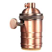 E26/ E27 Solid Brass Industrial Light Socket Vintage Edison Pendant lamp copper holder With Knob switch -Red bronze