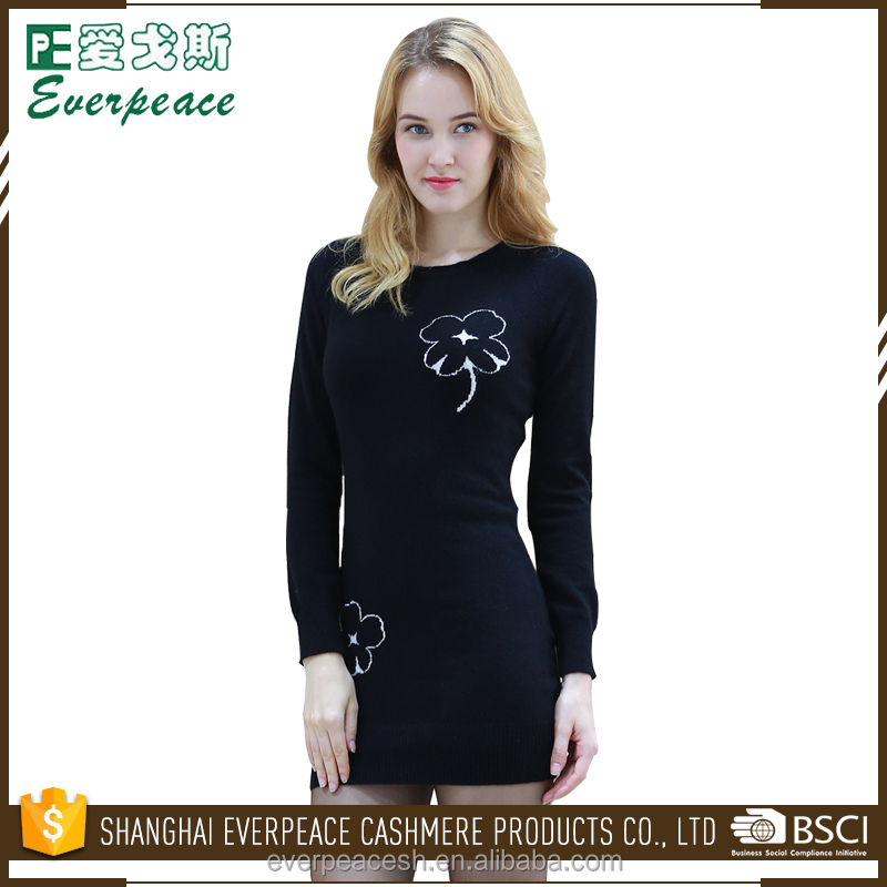 XS/S/M/L/XL women black sweater ladies pullover dress with flower