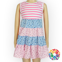 Fashion Design Small Girls Dress Sleeveless Summer Nice Dresses For Girls Wholesale Baby Girls Stripe Dress