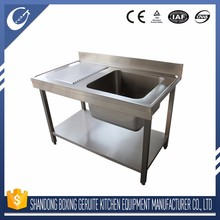 Single bowl stainless steel sink cabinet with drainboard