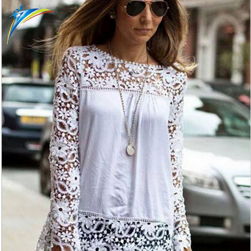 Wholesale clothing plus size female chiffon blouse autumn hollow out lace blouse long sleeve women shirt blouse