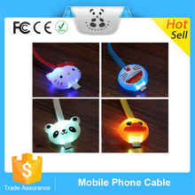 Newest Fancy Color Cute Smile Face Animal Flat Noodle LED Cartoon Micro USB Cable For Android Smartphone