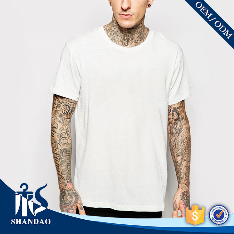 2016 China Shandao Factory Casual New Loose Men Short Sleeve O-Neck White 120g 60%Cotton 40%Polyester Cheap tee shirt T Shirt