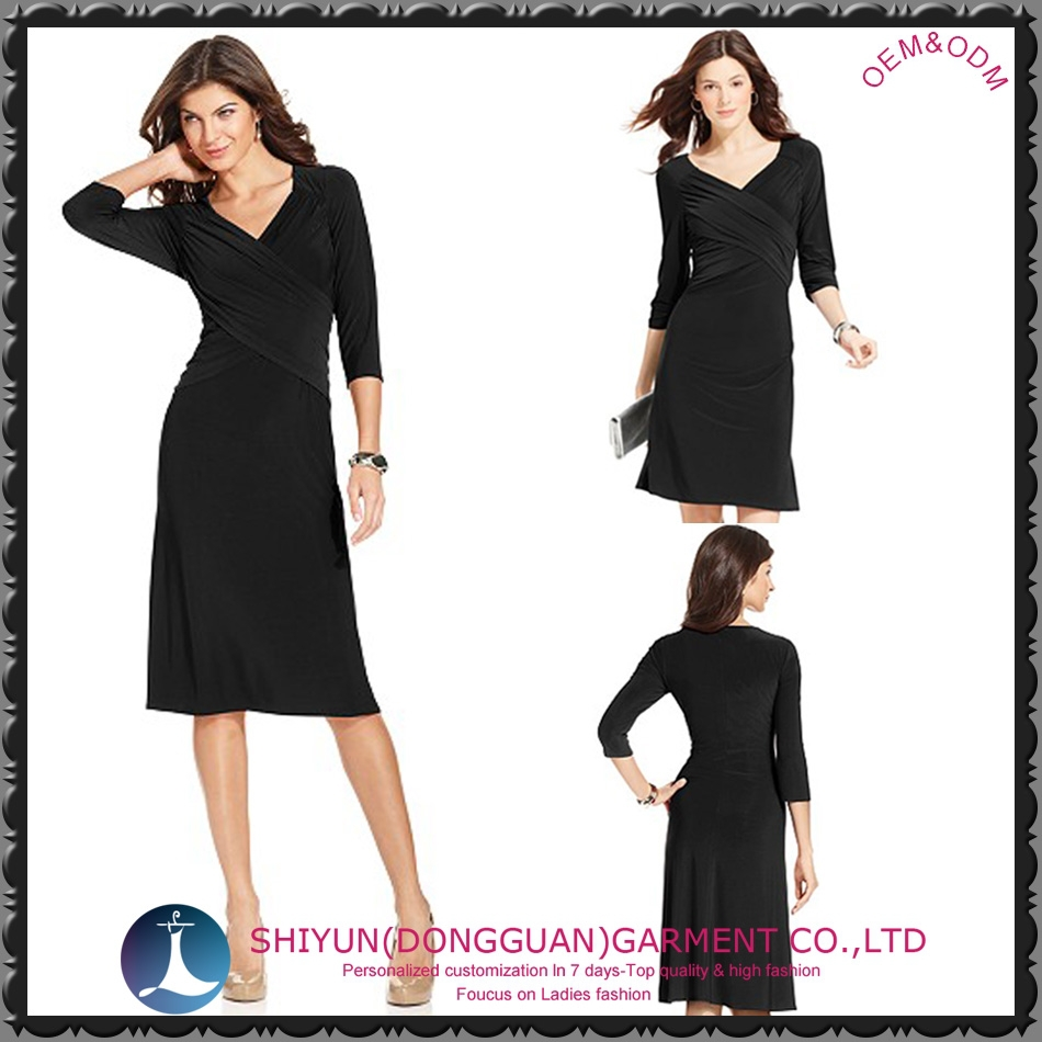 2015 the newest women's crossover midi dress with black and plus size free sample