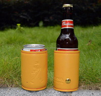 neoprene leathe can sleeve Leather can cooler neoprene