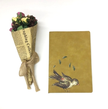 A5 Elegant Design Custom Printed PU Leather Thin Notebook With Back Pocket