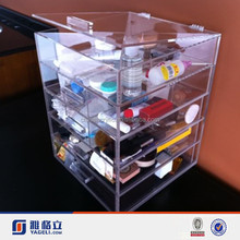 Yageli acrylic makeup organizer drawer with hinge lid and handle