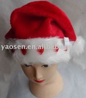 Plush Christmas santa hat with red LED light and white fur brim