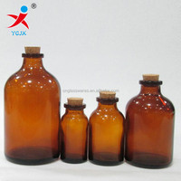 amber glass chemical bottle with cork lid/glass pharmaceutical amber bottle