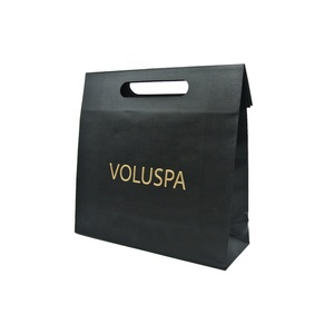 Famous High QualityBrand Custom Logo Printed Flat Gift Packaging Black Kraft Paper Bag With Handle