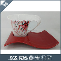 Hot sell exquisite decal red wave AB grade personalized tea cup saucer set
