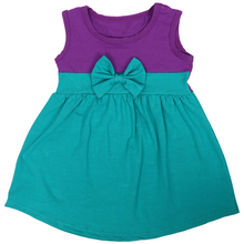 2018 summer cotton new design children girl dress with bow purple baby dress Ariel princess
