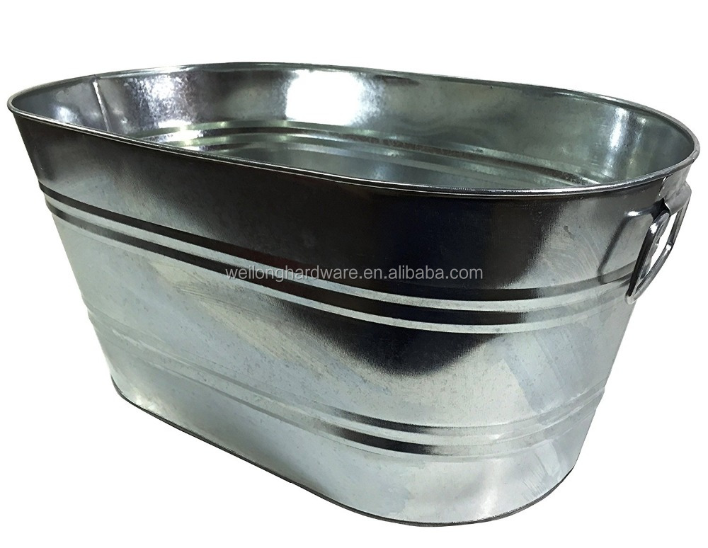 Large Oval Steel Bucket Galvanized Ice Buckets Metal Party Beverage Tub