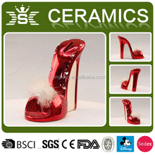 personality red high-heeled shoes shaped piggy bank ceramic money box