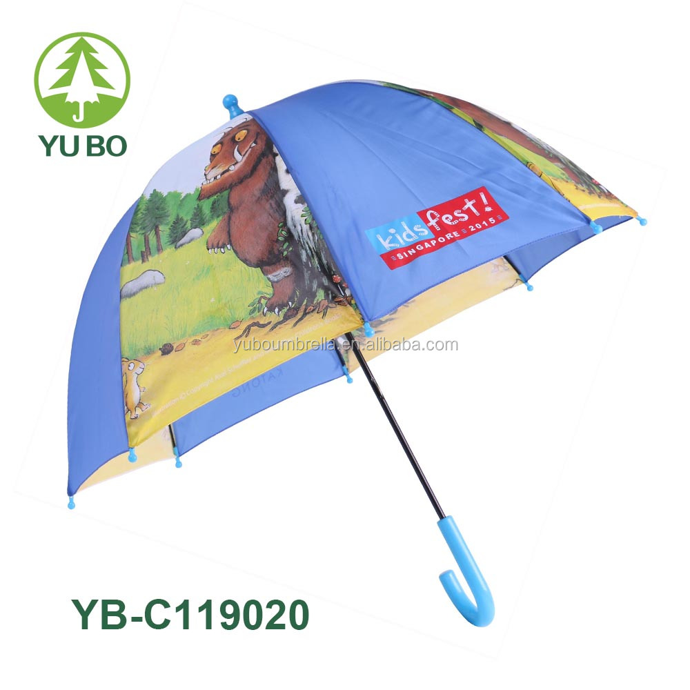 Blue color full panel silk-screen print dome shape personalized kids umbrella