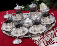 Tea Cups in Sets, Glass Cup in Copper Casing for Chai, Turkish, Moroccan, Arabian, Silver Large Tray