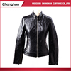 Chonghan Autumn Winter Black Pu Leather Women Jacket With Zipper Pocket
