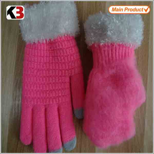 2016 Women beanie gloves set hari sheep leather gloves for lady pu knitted gloves