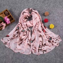 New Wholesale Women Spring Long Slub Cotton Printing Scarf