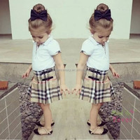 Wholesale children clothing F1636 European American new fashion style girl cotton shirt + lattice skirt a fair maiden suit