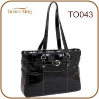 2014 new fashion ladies leather laptop bags with patent embossed crocodile leather