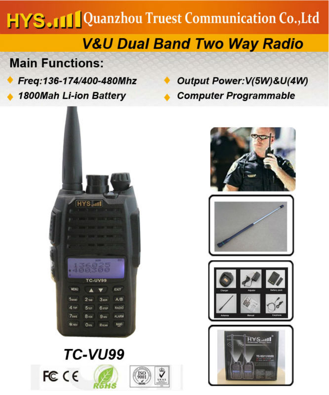 Military Standard! Dual Band handy talkie TC-VU99