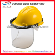 clear plastic face shield with safety helmet