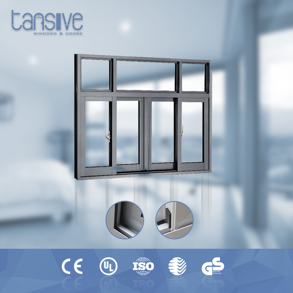 Double glazed windproof aluminium security curtains for sliding windows
