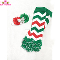 First Christmas Outfit Red Green White Chevron Baby Girls Christmas Ruffle Leg Warmer With Matching Shabby Chic Headband