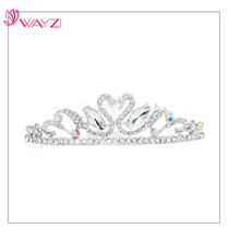 wayzi brand 2017 hot selling wedding hair accessories for bride, cheap bridal crown princess rhinestone birthday tiaras