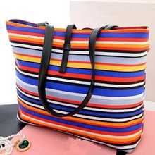 W91205A 2015 new fashion big size canvas stripe women handbag ladies single shoulder bag purse