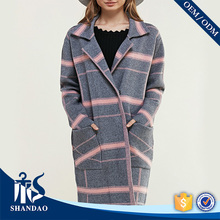 OEM/ODM Manufacture China Shandao New Arrivals Longline Cashmere Lapel Collar Long Sleeve Side Pockets Ladies Coats Pictures