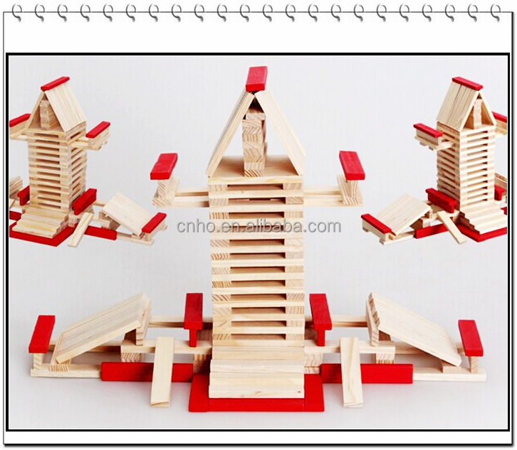 small toy house blocks stacking game wooden block