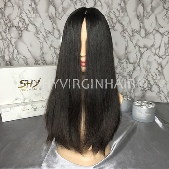 Hot Sale Raw Hair Natural Black 180% Density Silky Straight Kosher Jewish Wig In Stock