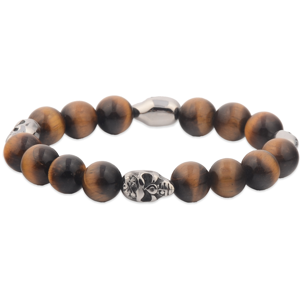 Costume Jewelry Imported Tiger Eye Stone With Charm Smart Bracelet