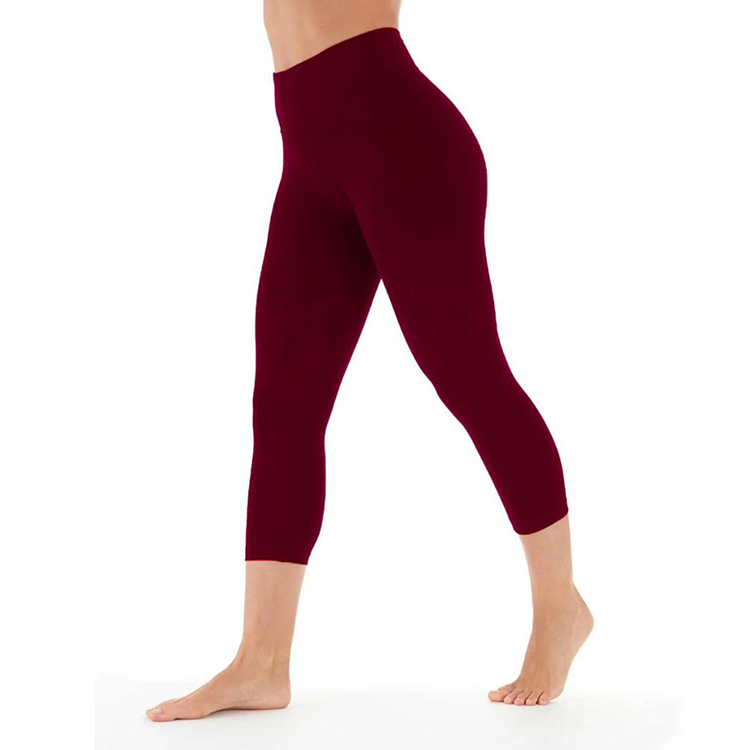 New Products Gym Sports Polyester Elastic Waist Wine Red Cropped Women Leggings
