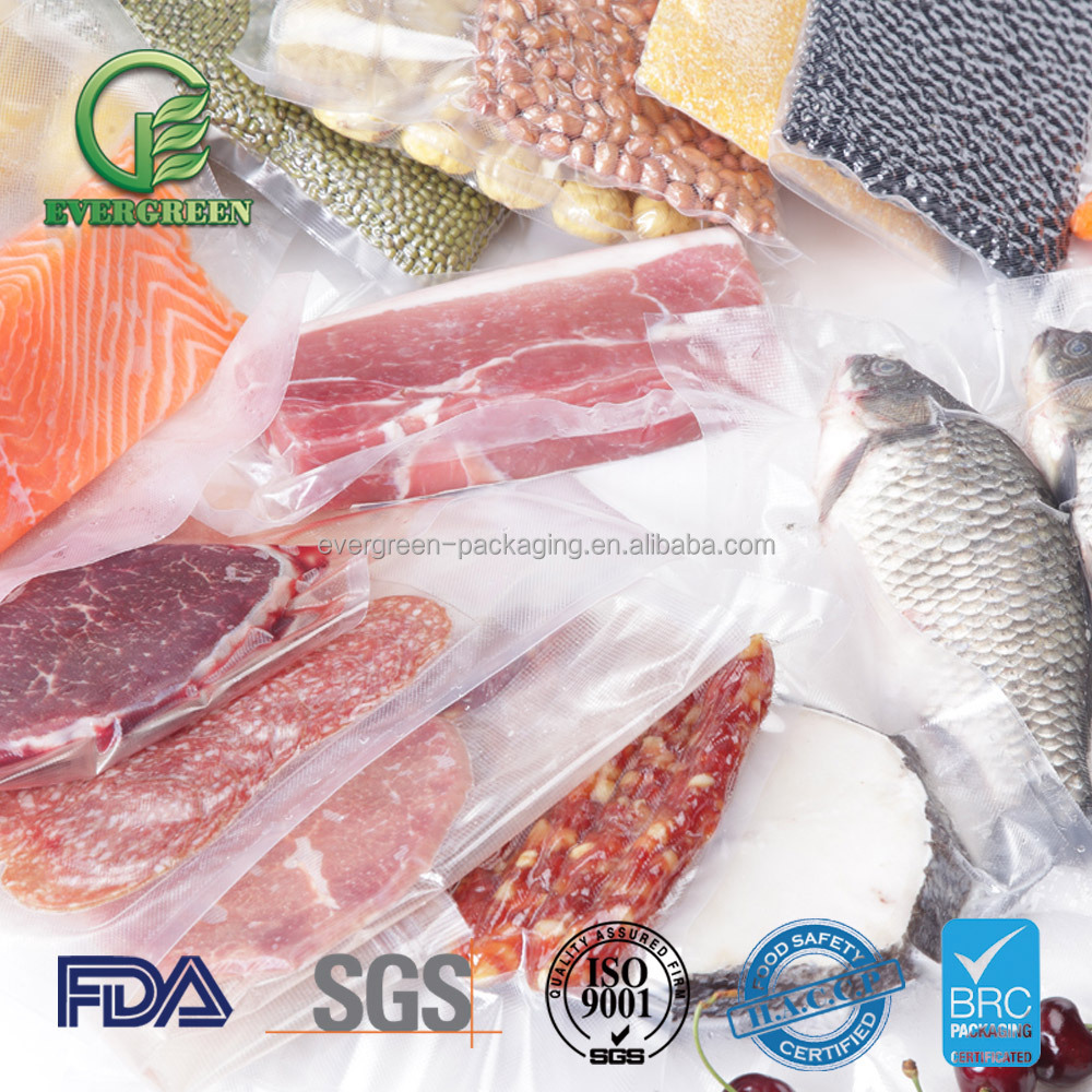 Resealable custom printed plastic food packaging film for meat,pork,beef,sea food