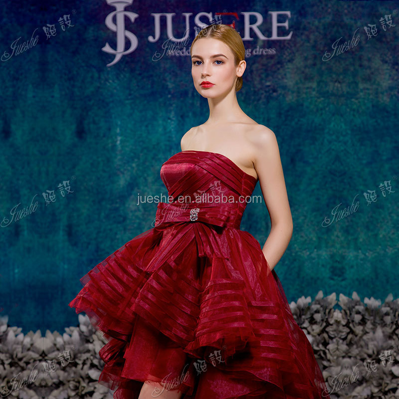 Sparkling Hottest Puffy Burgundy Organza Girls Party Short Frong Long Back High Low Prom Dresses