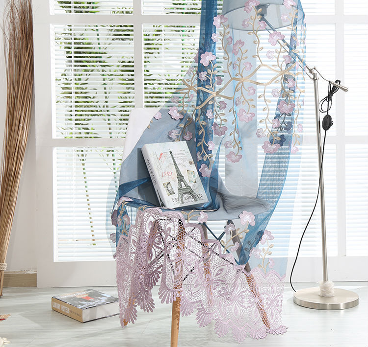 Modern Turkish cafe room transparent sheer embroidered floral curtain fabric