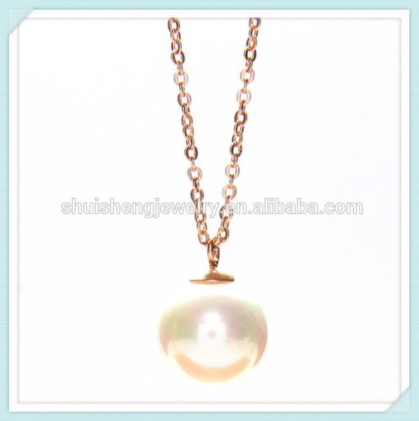 2015 Wholesale fashion rose gold cheap fake pearl necklaces for ladies