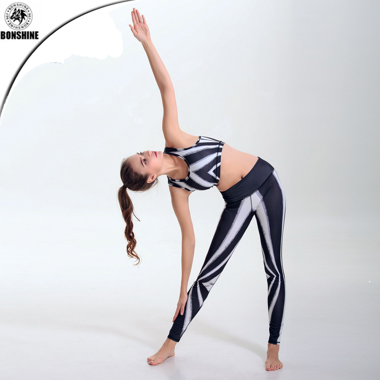 Women's popular striped printing yoga clothing foreign trade supply elastic tight-fitting hip pants vest suit