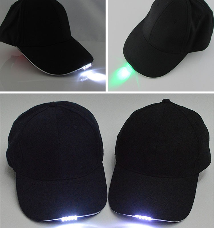 Black Hat with Headlamp 5 Bright LED Lights Unisex Baseball Cap Easily Adjustable One Size Fits All Flashlight for Hunting