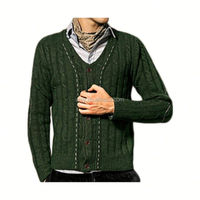 Cable Knit Handmade Wool Man Cardigan Sweater
