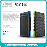 100% Full capacity 8000mAh Solar waterproof power bank with IP54 certificates