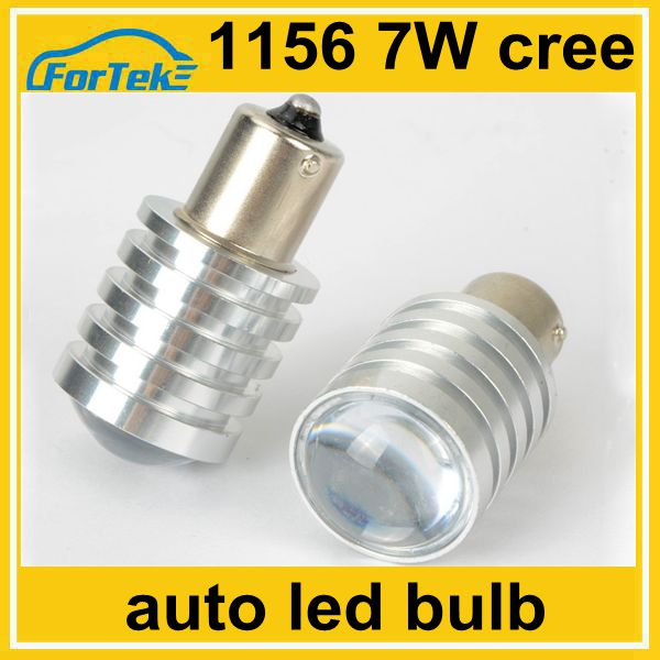 12v car led parking light bulb 1156 ba15s cree 7w with projector lens for singal light, stop light, brake light
