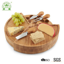 Amazon hot selling durable round bamboo cheese board set online