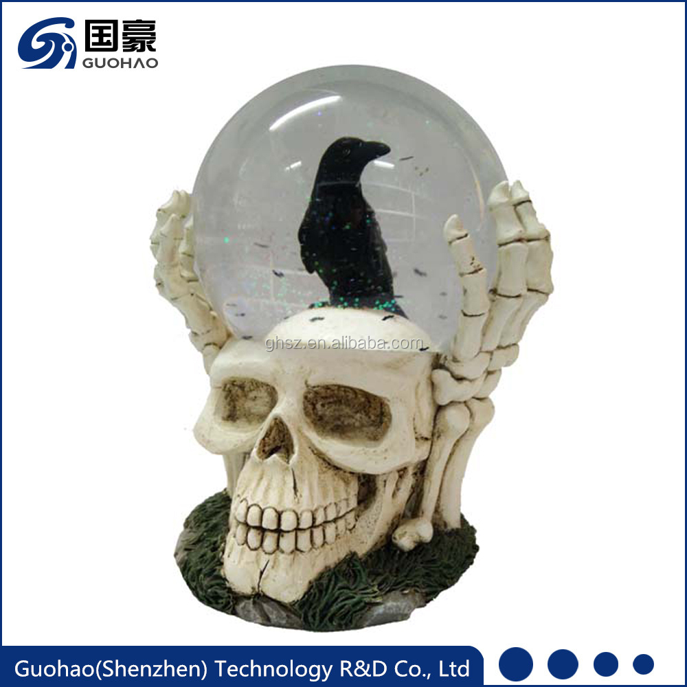 Custom Halloween Skeleton Crow Snowglobe